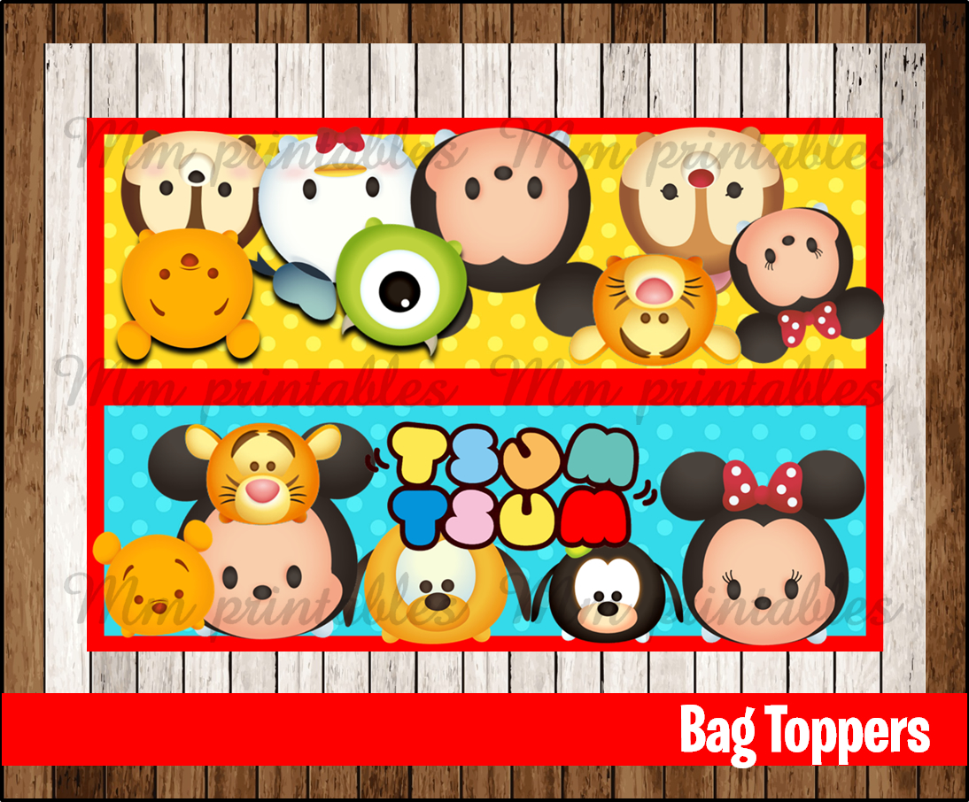 photo about Printable Bag Toppers known as 80% OFF SALE Tsum Tsum Celebration Toppers fast down load