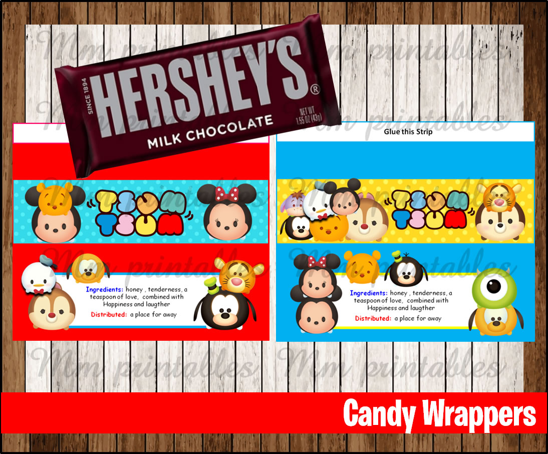 image relating to Printable Candy Wrappers called 80% OFF SALE Tsum Tsum Sweet Bar Wrappers immediate down load