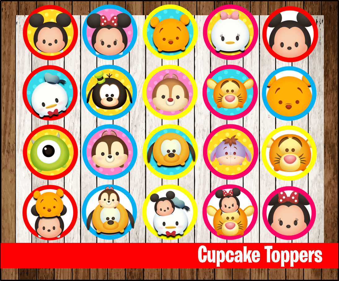image about Pokemon Cupcake Toppers Printable known as 80% OFF SALE Tsum Tsum Cupcakes Toppers immediate down load