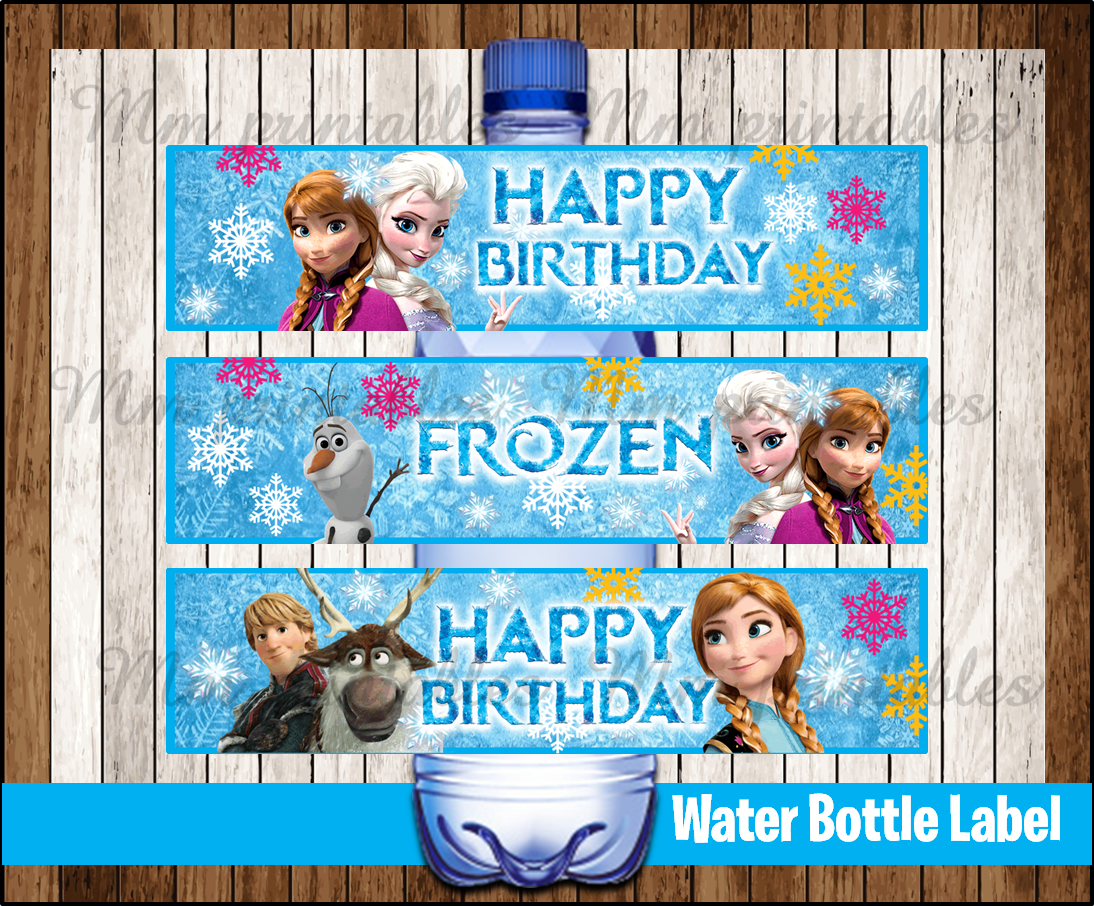 picture relating to Frozen Printable Labels called 80% OFF SALE Frozen Drinking water Bottle Label immediate down load