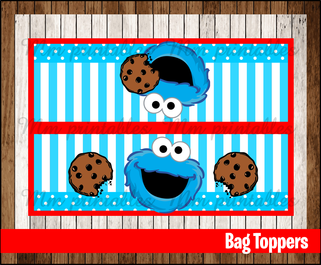 graphic regarding Printable Bag Toppers identified as 80% OFF SALE Cookie Monster Social gathering Toppers quick down load
