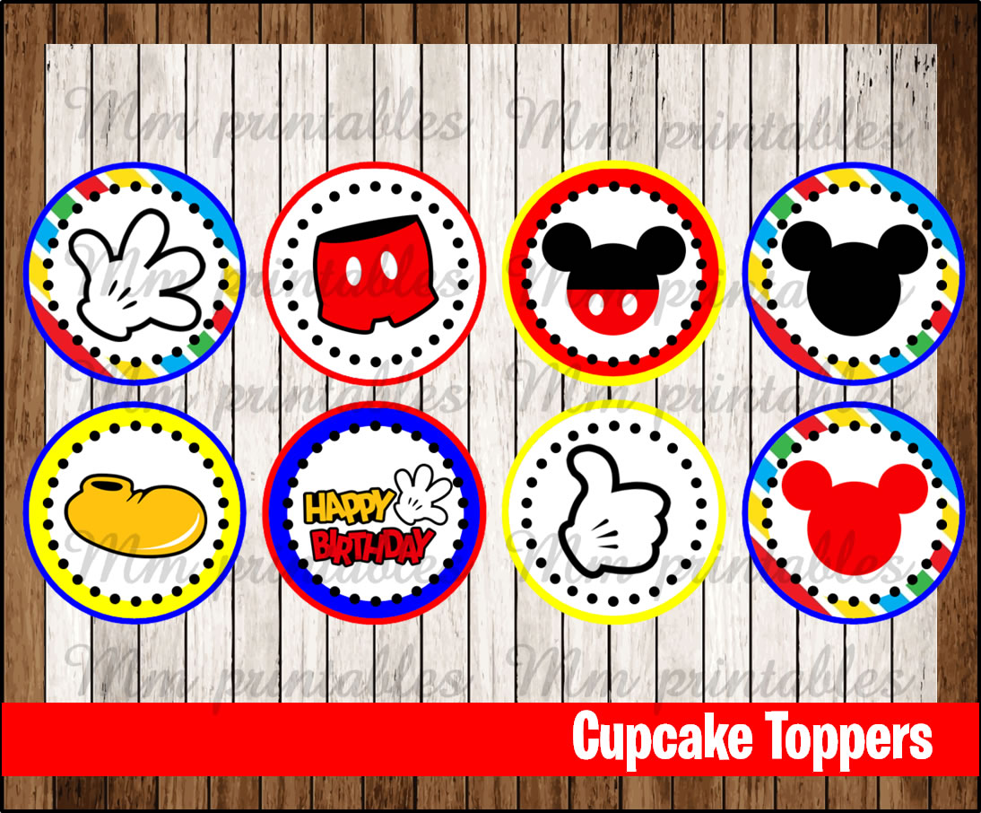 80% OFF SALE Mickey Mouse party Cupcakes Toppers instant ...Mickey Mouse Cupcake Toppers