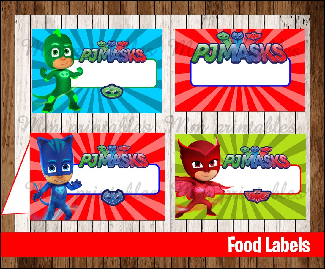 80 Off Sale Pj Masks Food Tent Cards Instant Download