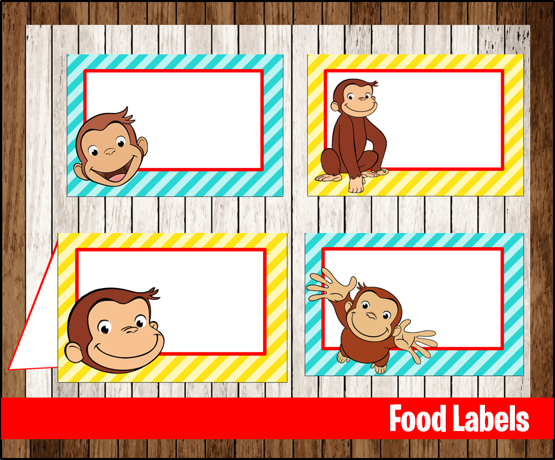 photo regarding Curious George Printable identify 80% OFF SALE Curious George Food items Tent Playing cards fast down load