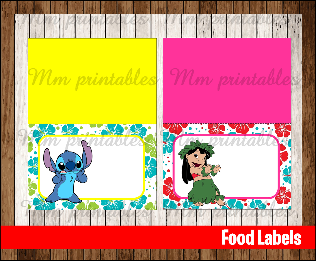 80 Off Sale Lilo And Stitch Food Tent Cards Instant