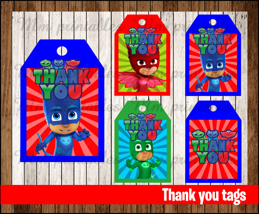 80% OFF SALE PJ Masks Thank You Tags Instant Download