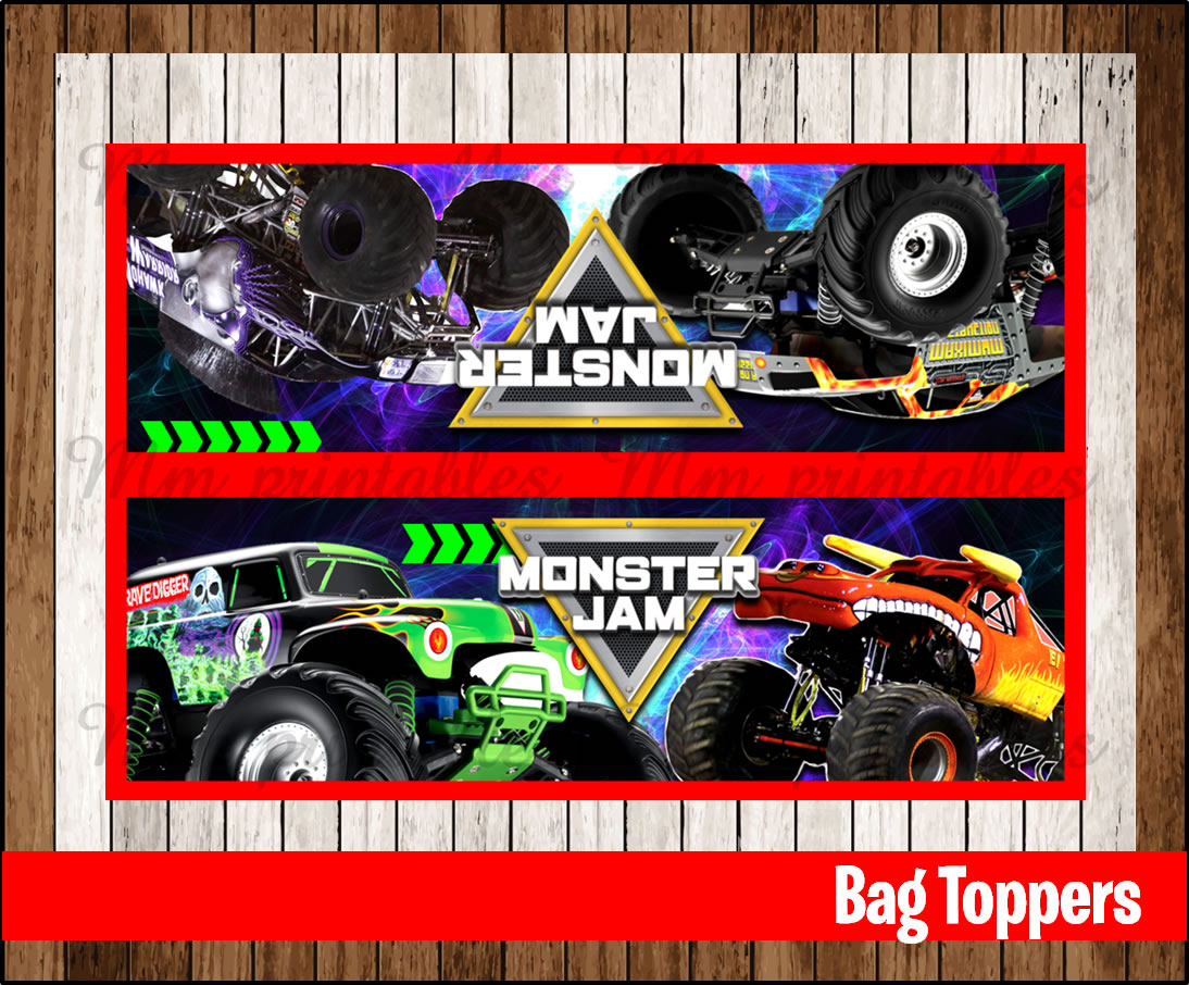 80% OFF SALE Monster Jam Party Toppers, Monster Jam bag topper ...
