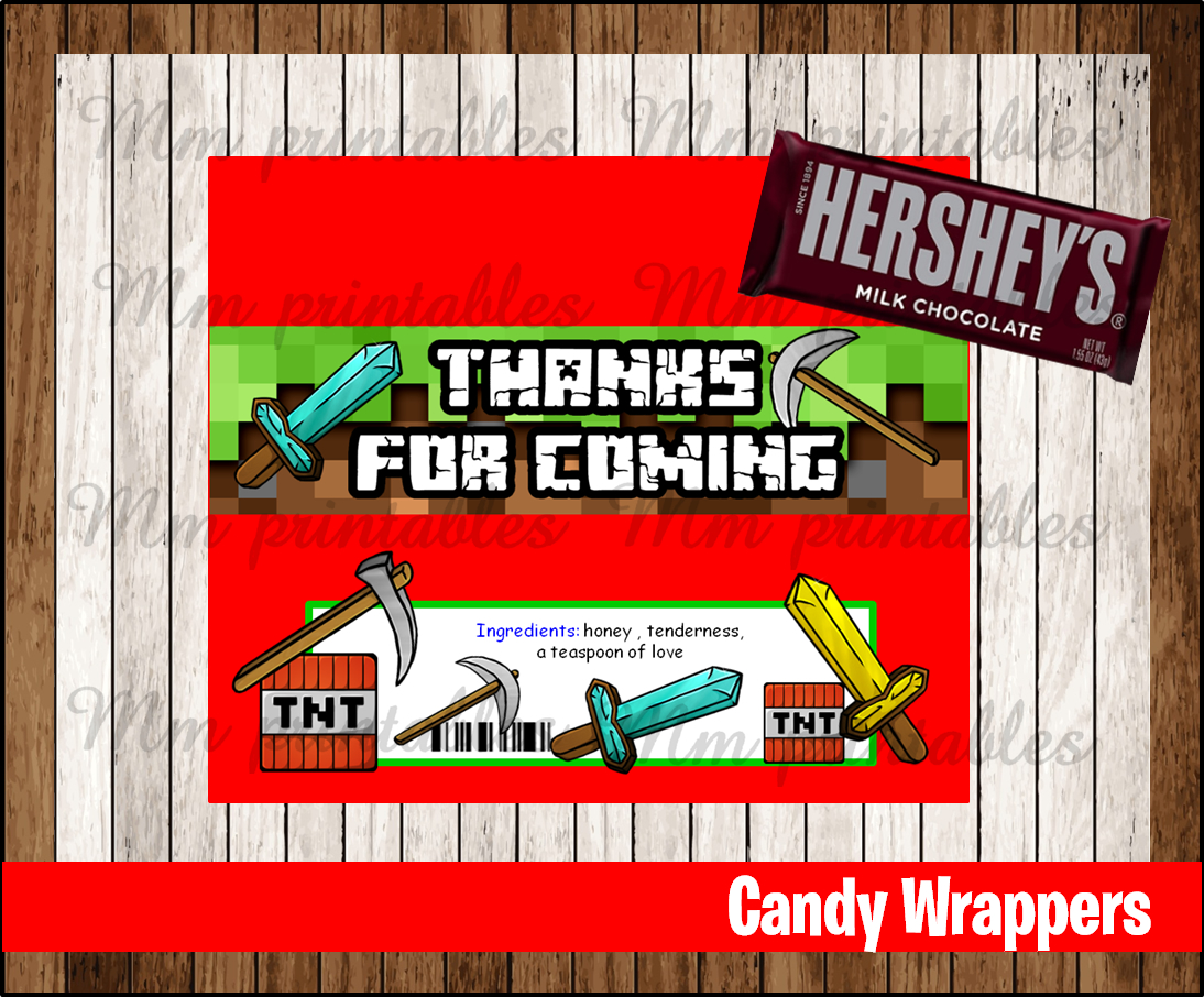 graphic relating to Minecraft Masks Printable named 80% OFF SALE Minecraft Sweet Bar Wrappers prompt down load