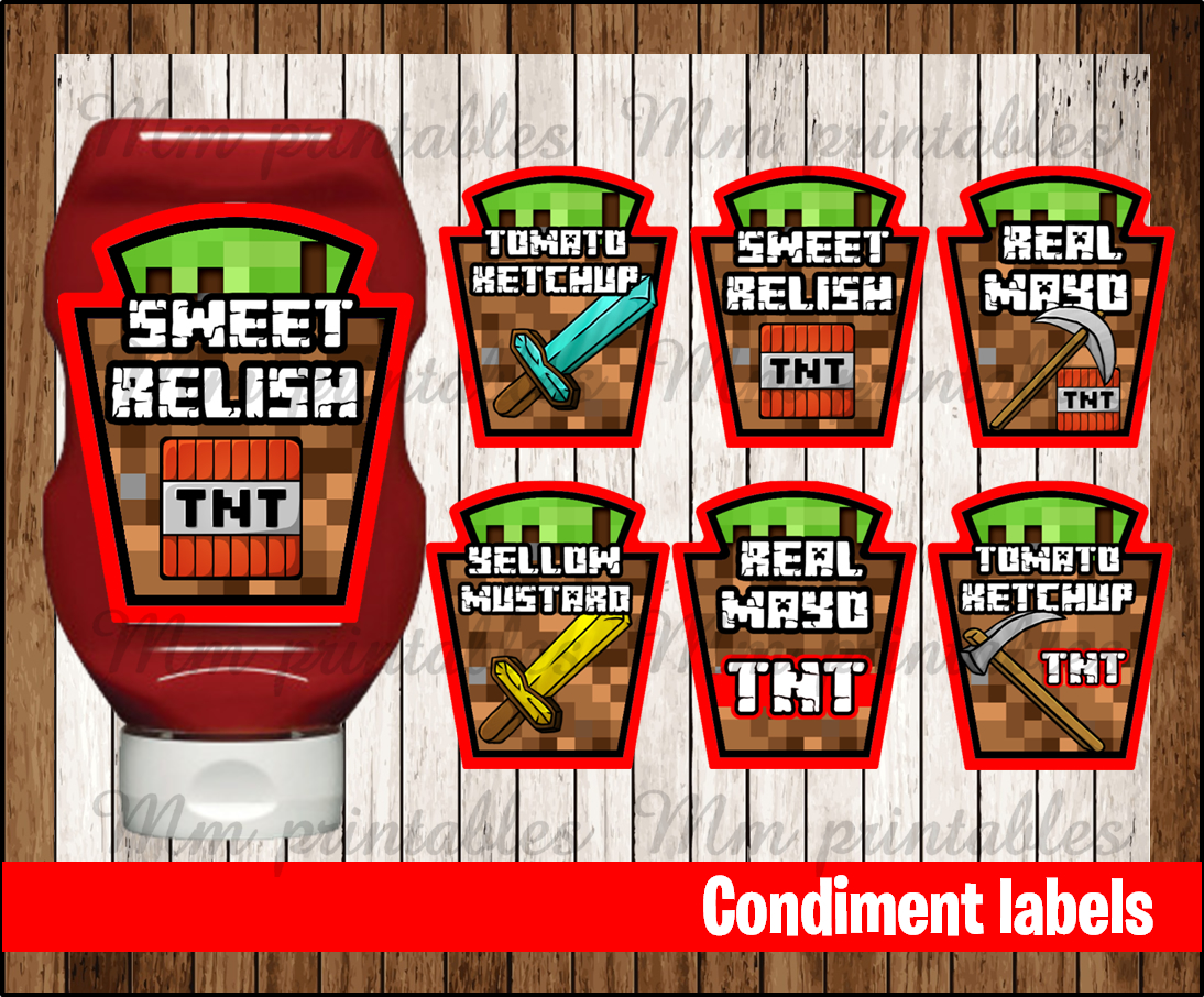 image relating to Minecraft Labels Printable identified as 80% OFF SALE Minecraft Condiments Label immediate down load