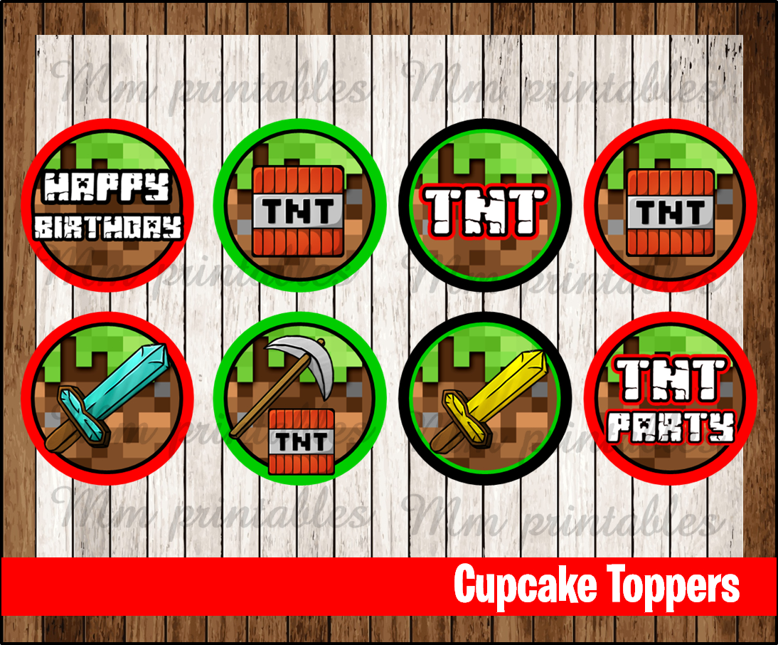 photo about Printable Minecraft Cupcake Toppers referred to as 80% OFF SALE Minecraft bash Cupcakes Toppers instantaneous down load