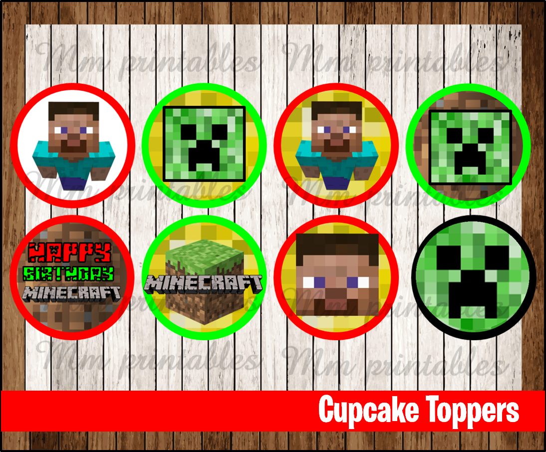 It is a graphic of Slobbery Printable Minecraft Cupcake Toppers