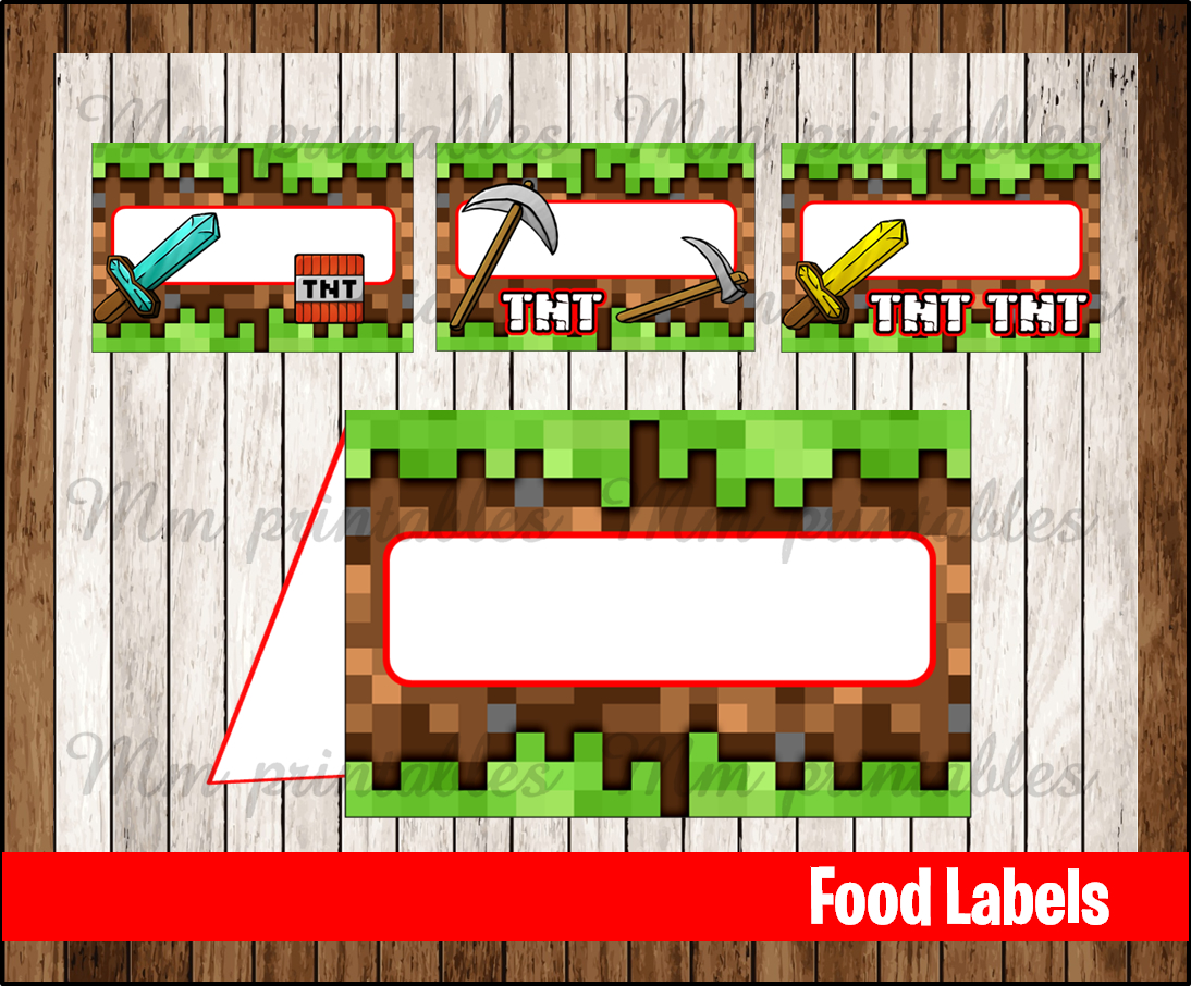 image regarding Minecraft Labels Printable titled 80% OFF SALE Minecraft Food stuff Tent Playing cards fast obtain