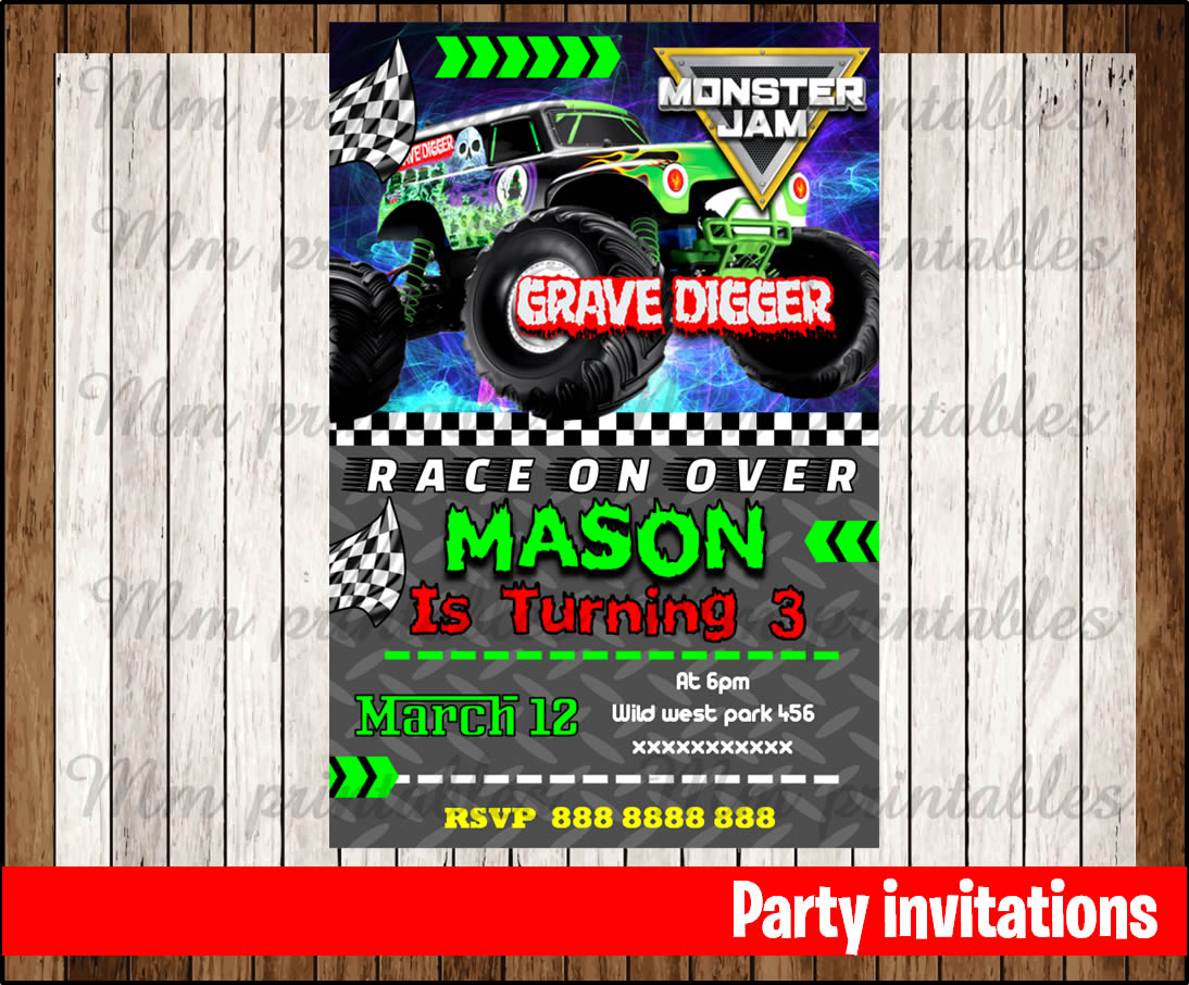 50 OFF SALE Monster jam Invitation Monster jam Birthday Invitation