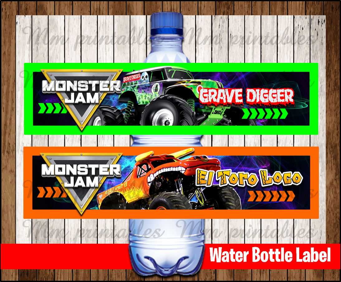 80  off sale monster jam water bottle label instant download