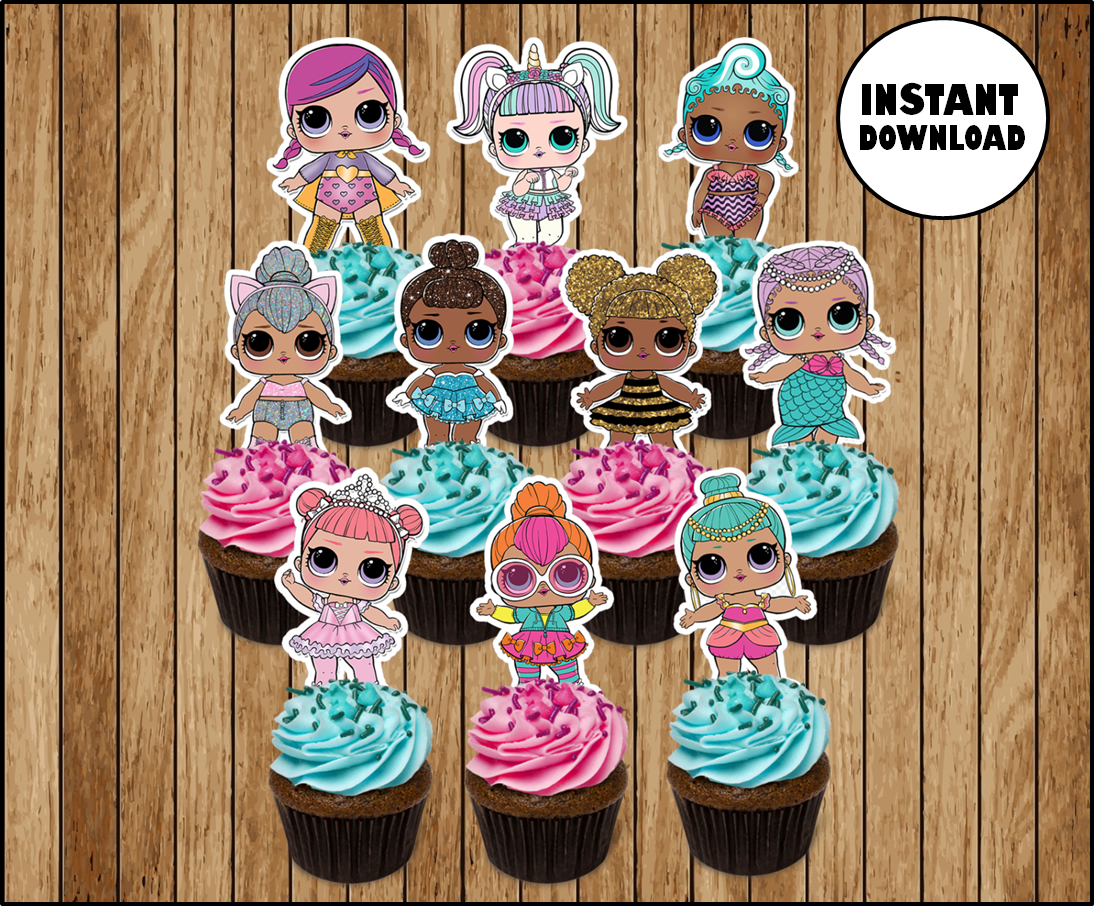 photograph relating to Lol Doll Printable titled LOL Ponder Dolls cupcakes toppers, printable LOL Dolls get together toppers, LOL Question Boy cupcakes toppers stickers