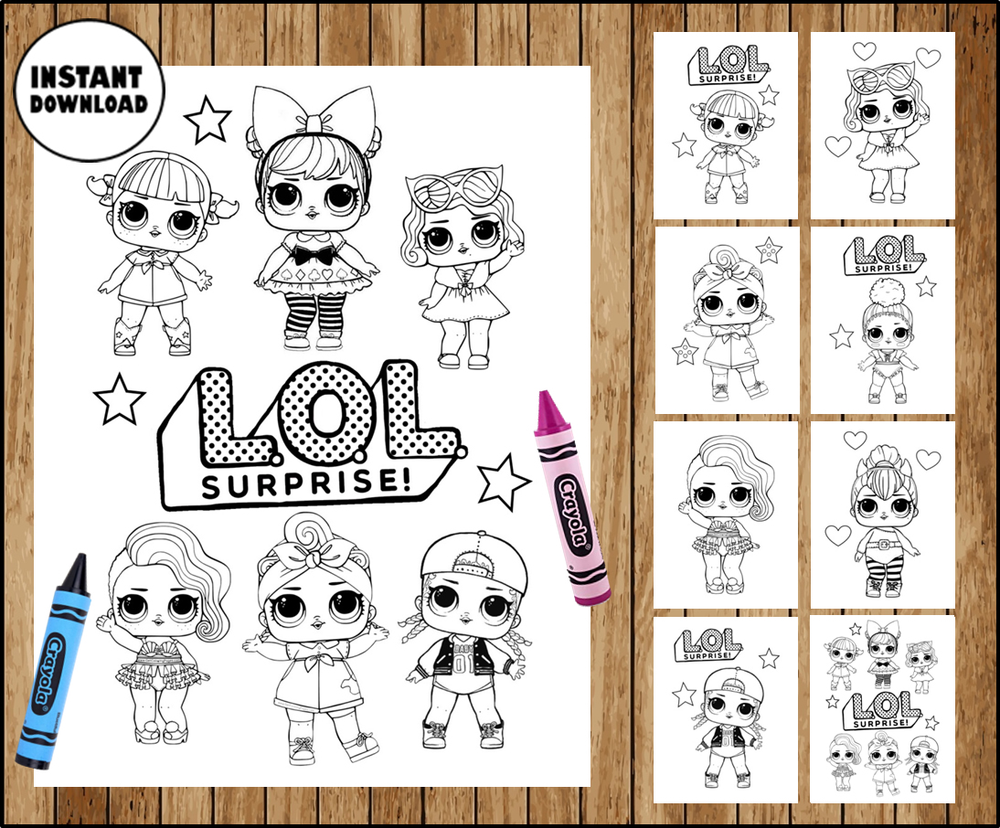 LOL Surprise Dolls Colouring Pages, LOL Surprise Dolls party printable, LOL  Surprise Dolls Colouring Pages Instant download - Printable
