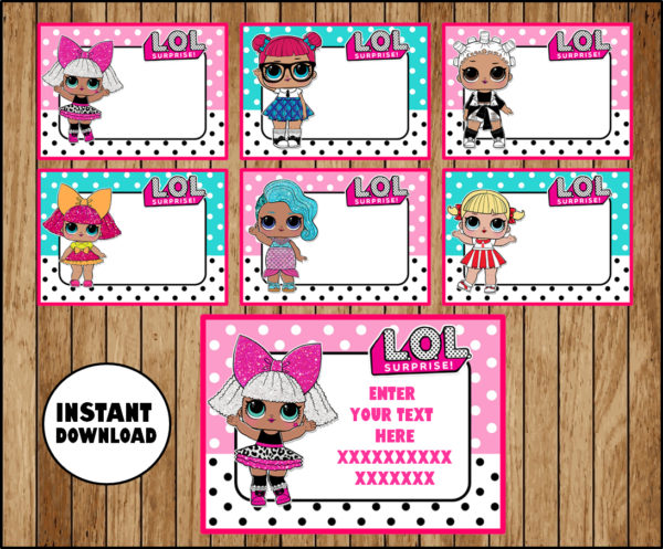 LOL Surprise Dolls School label – name label – name tag sticker – Back To  school label – book label – this belongs to label INSTANT DOWNLOAD