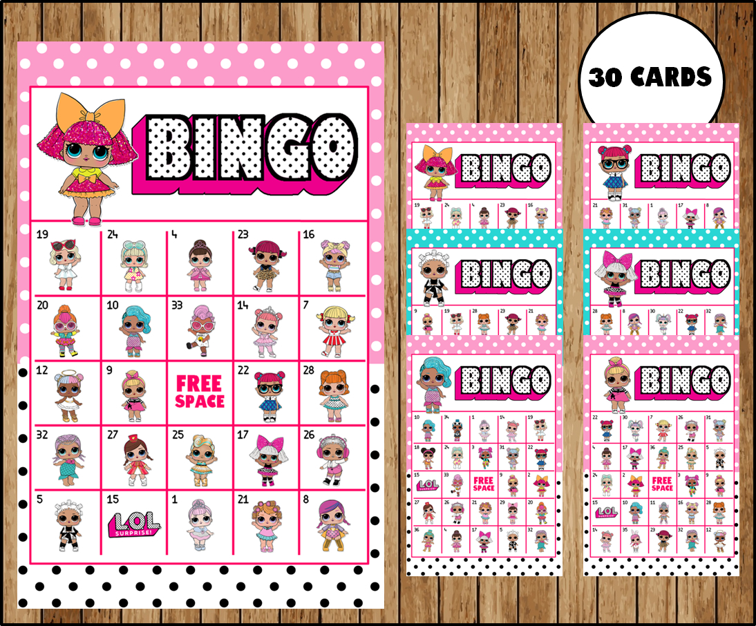 LOL Surprise Dolls Bingo Game – Printable – 30 different Cards – Party Game  Printable – Half Page Size – INSTANT DOWNLOAD