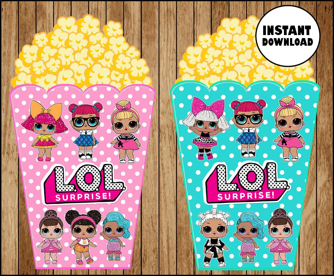 LOL Surprise Dolls Popcorn box instant download, Printable LOL Surprise  party Popcorn box, LOL Dolls printable Popcorn box