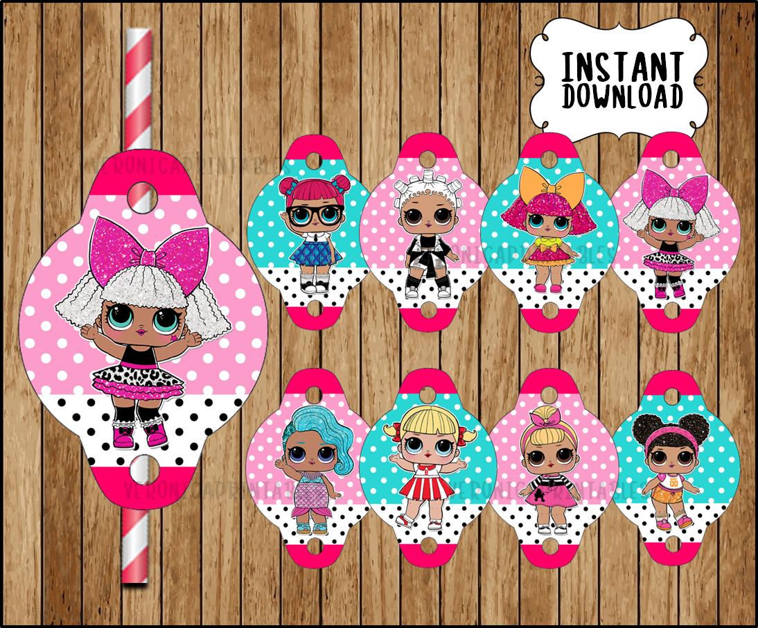 LOL Surprise Dolls Straw Tags, printable LOL Dolls party Straw Tags, LOL  Surprise toppers