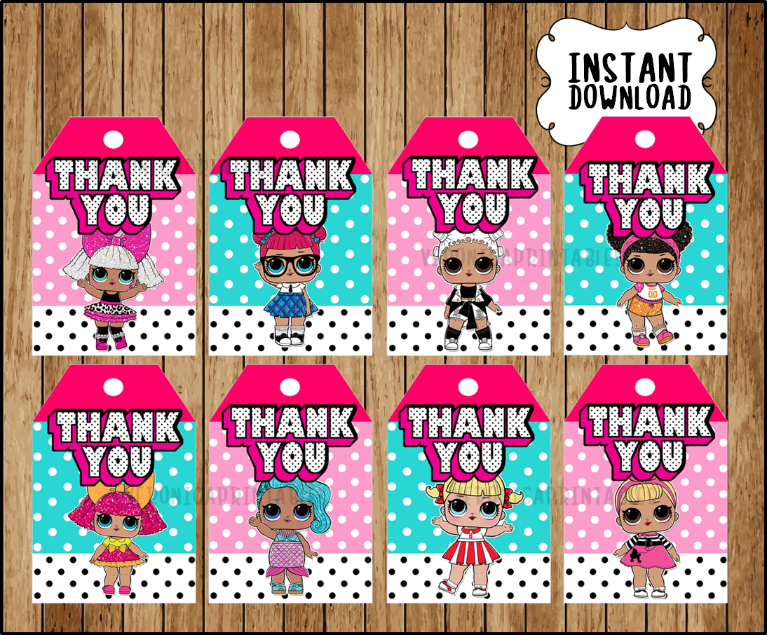 LOL Surprise Dolls Thank you Tags, printable LOL Dolls party Thank you  Tags, LOL Surprise Thank you Tags
