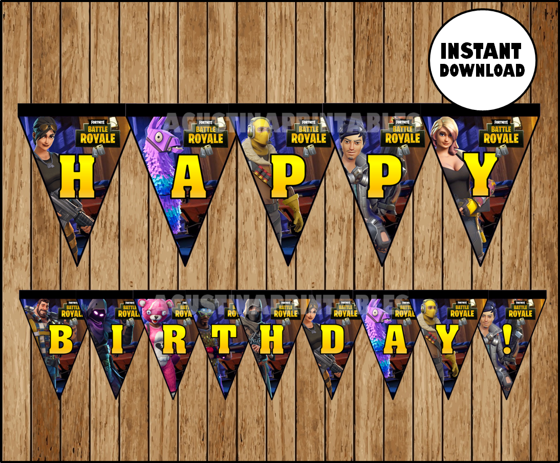 image regarding Printable Fortnite titled FORTNITE Banner, Printable FORTNITE Triangle Banner, FORTNITE Birthday Get together Immediate down load