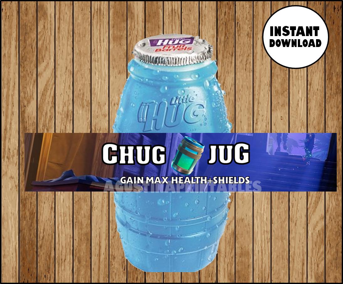 picture about Chug Jug Printable named Fortnite birthday bash, CHUG JUG, printable bottle wraps, labels, lil hugs wrappers,celebration decoration, fortnight birthday Instantaneous obtain