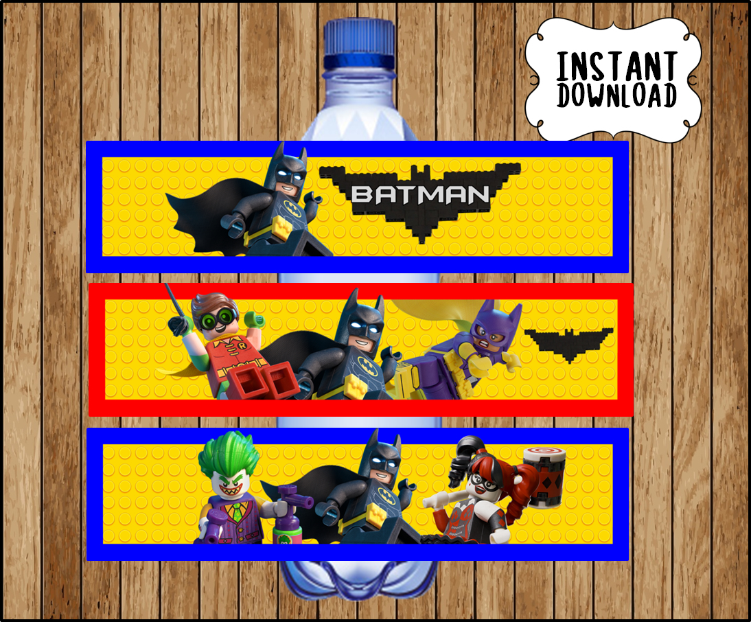 picture relating to Water Bottle Labels Printable titled Printable Lego Batman Drinking water Bottle labels fast obtain, Lego Batman Video get together bottle labels, Lego Batman Bottle labels