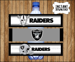 Raiders Football Water Bottle Labels Instant Download Party
