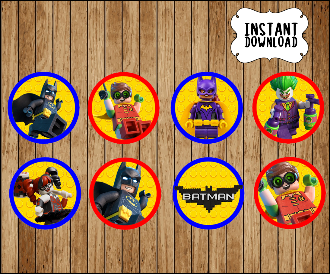 picture relating to Batman Cupcake Toppers Printable known as Printable Lego Batman Cupcakes toppers instantaneous obtain, Lego Batman Video bash Toppers, Printable Lego Batman Toppers