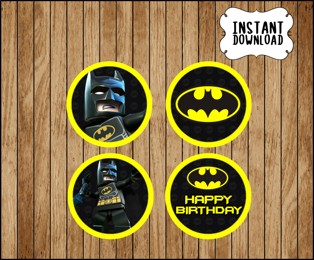 photograph relating to Batman Cupcake Toppers Printable identify Printable Lego Batman Cupcakes toppers prompt down load, Lego Batman get together Toppers, Printable Lego Batman Toppers