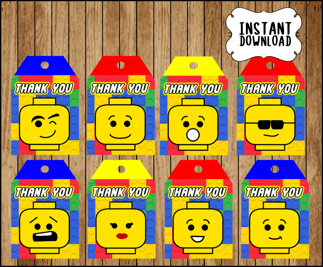 Printable Lego building blocks Thank you Tags instant ...