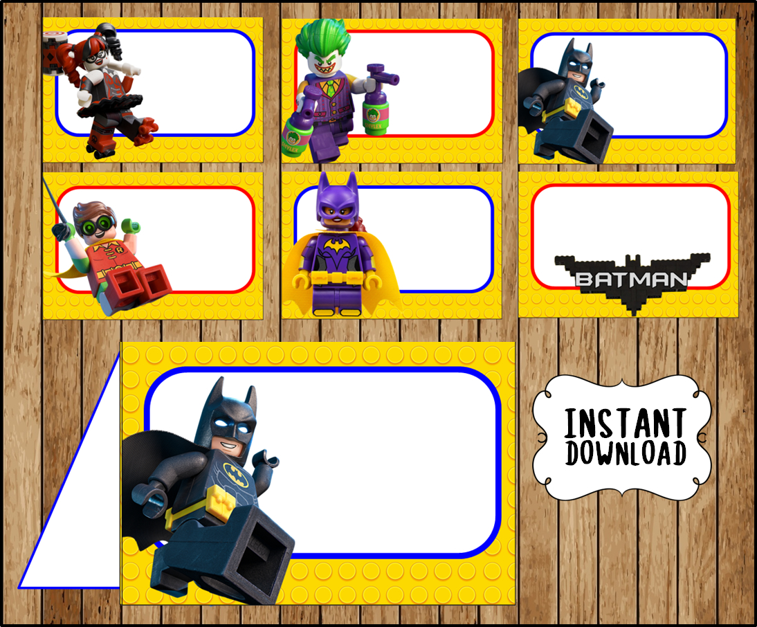 photograph relating to Lego Batman Printable named Printable Lego Batman Foodstuff labels instantaneous obtain, Lego Batman Online video bash Meals tent playing cards, Printable Lego Batman Tent playing cards