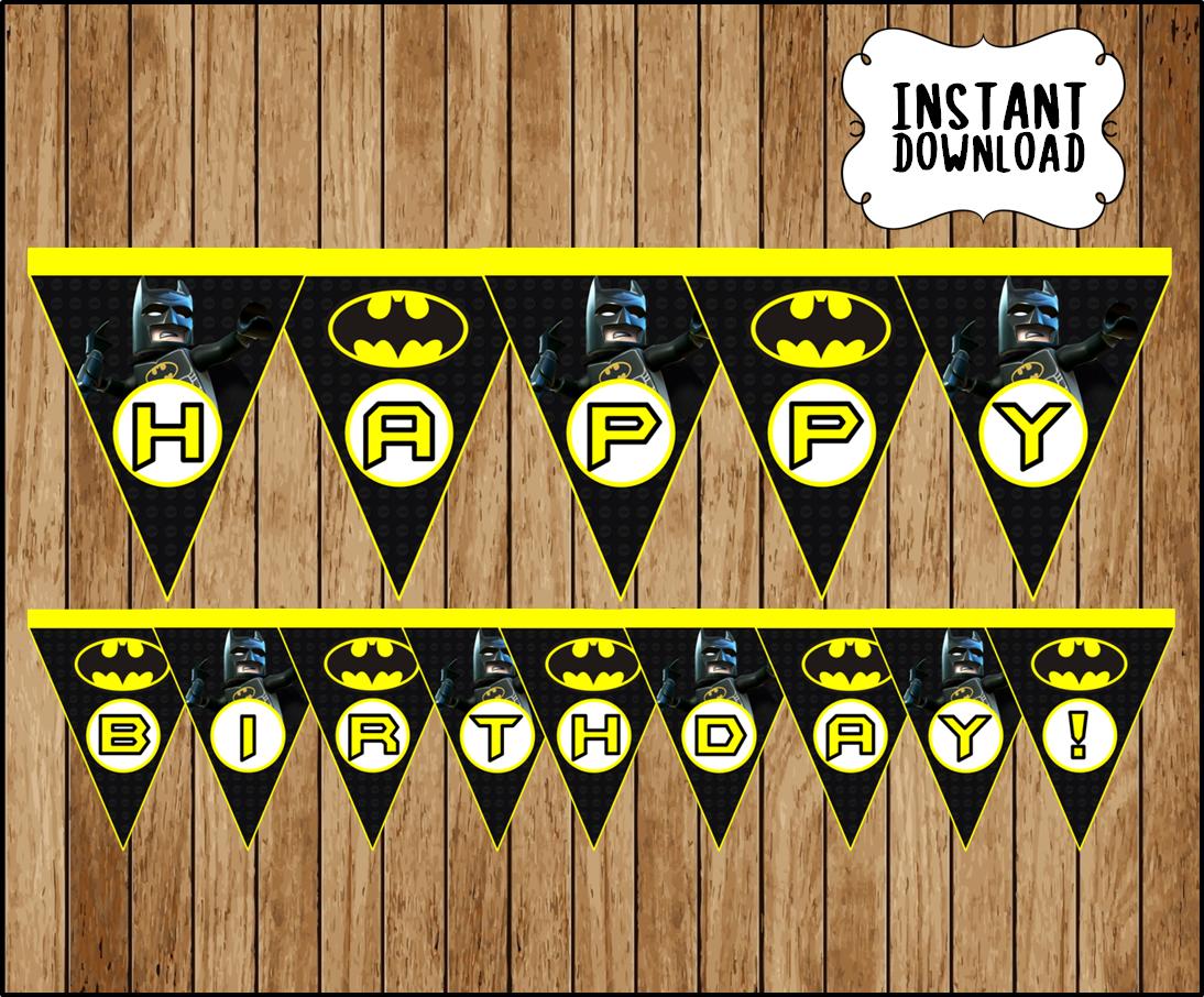 Printable Lego Batman Banner instant download, Lego Batman ...