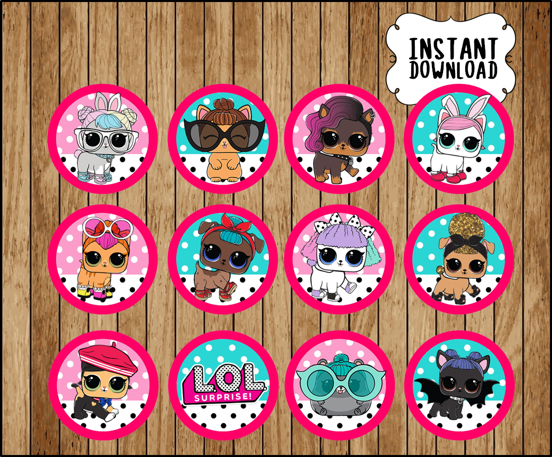 LOL Surprise Pets cupcakes toppers, printable LOL Pets party toppers, LOL  Surprise cupcakes toppers stickers