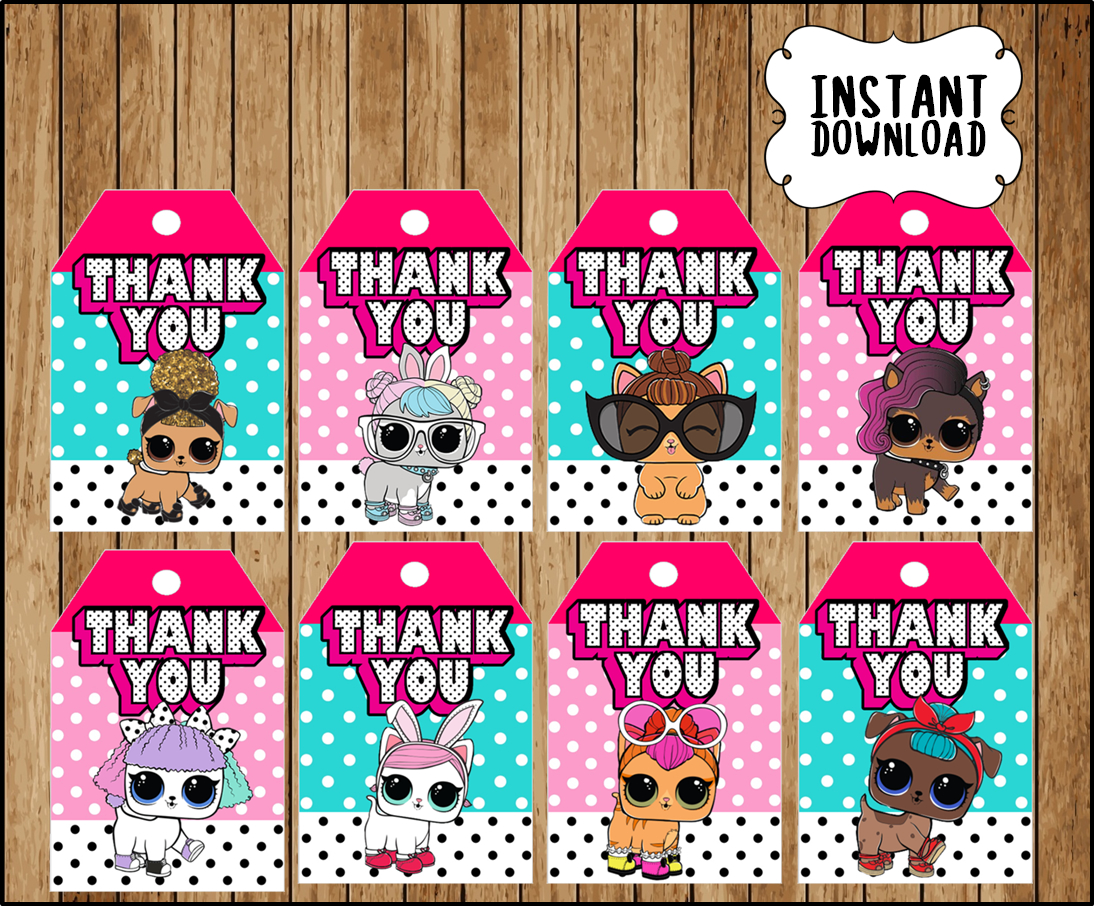 LOL Surprise Pets party thank you tags instant download, Printable LOL  Surprise Pets party tags, LOL Surprise Pets thank you tags