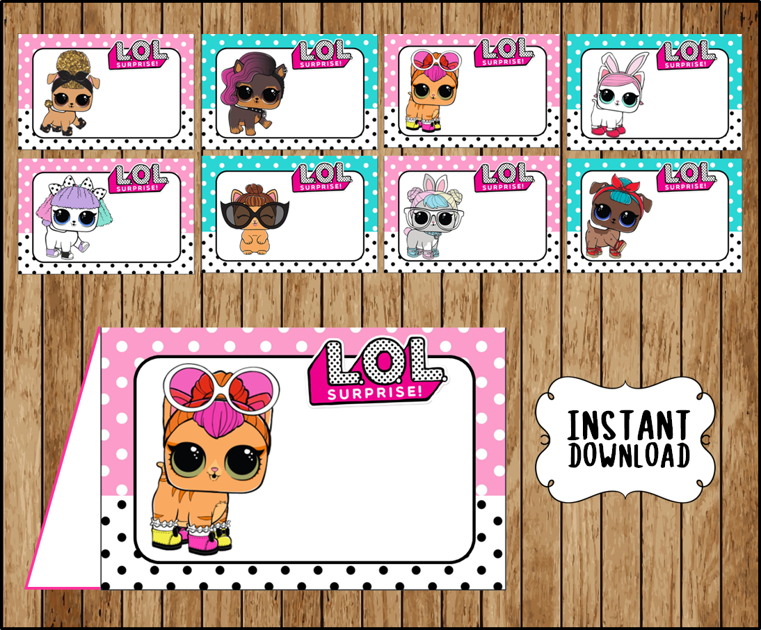 LOL Surprise Pets Food labels, printable LOL Surprise Pets party food tent  cards, LOL Surprise Pets tent cards