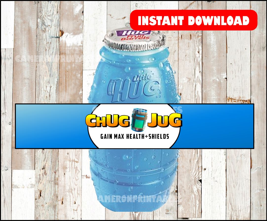 Fortnite birthday party, CHUG JUG, printable bottle wraps ...