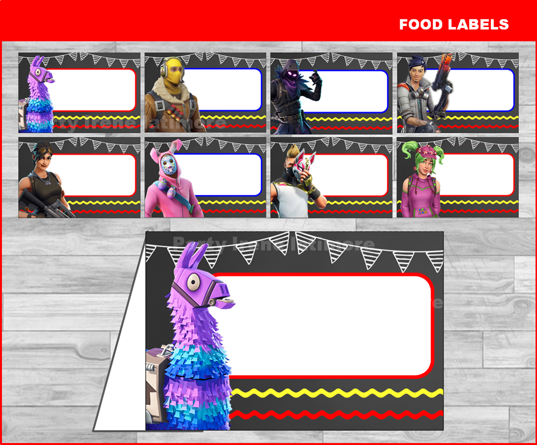 photograph relating to Printable Fortnite named Fortnite Food items labels, Printable Fortnite Food stuff tent playing cards, Fortnite occasion Meals labels, custom made, Editable, Chalkboard, Fast down load