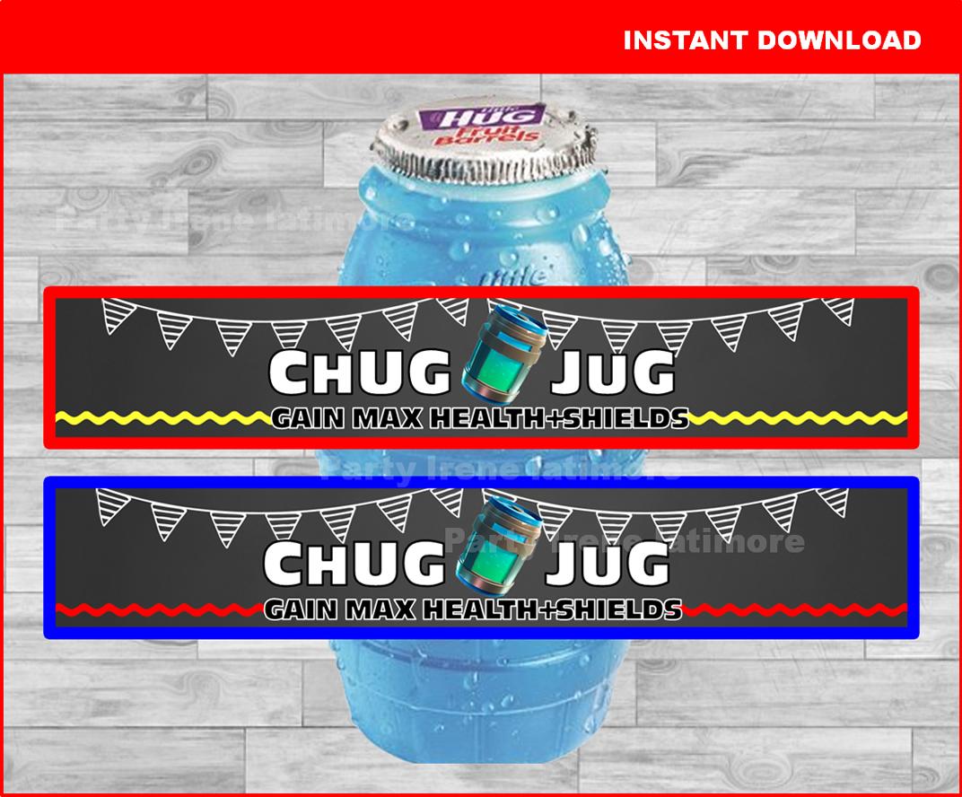 picture relating to Chug Jug Printable named Fortnite birthday social gathering, CHUG JUG, printable bottle wraps, labels, lil hugs wrappers,bash decoration, fortnight birthday, Chalkboard, Instantaneous