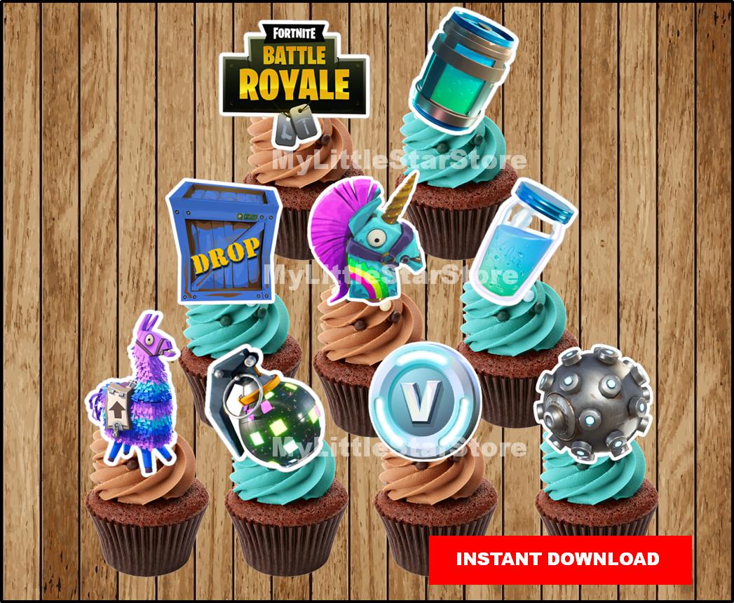 Fortnite Birthday Fortnite Cupcake Toppers Fortnite Party Cupcake Toppers Boogie Bomb Llama Chug Jug Mini Shield Instant Download